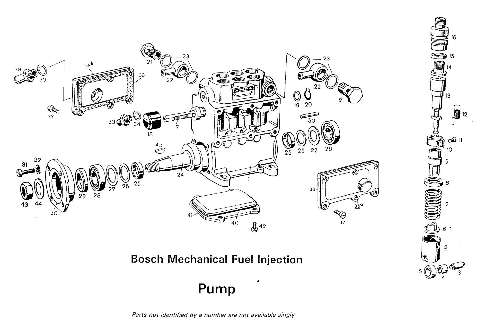 hight resolution of bosch mechanical fuel injection pump assembly section